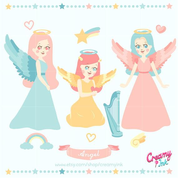 Angel Digital Vector Clip art / Heaven Clipart Design by CreamyInk.