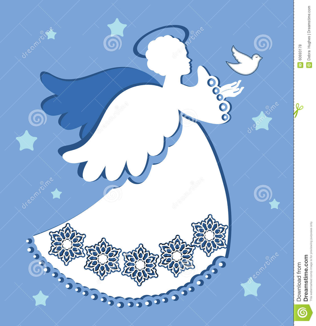 Angel With Dove Of Peace Stock Vector.