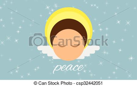 Clipart Vector of Angel peace vector character.