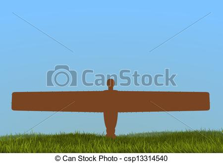 Drawing of Angel of the North.