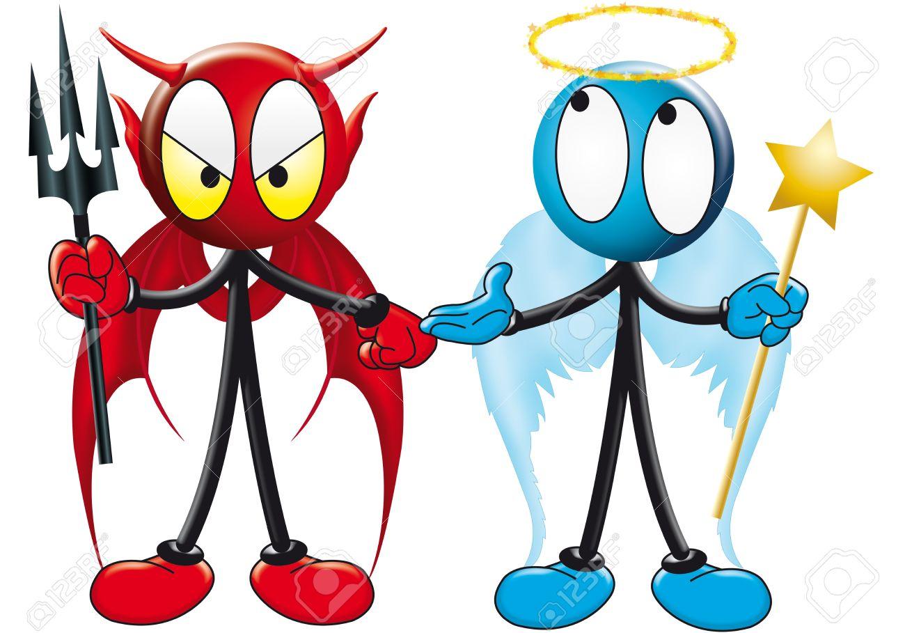 Angel and devil on shoulder clipart.