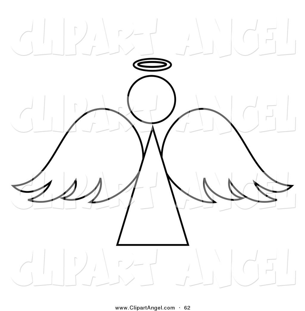 Illustration Vector of a Black and White Angel Outline Design on.