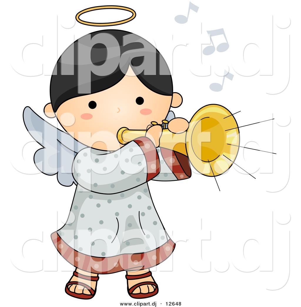 Vector Clipart of a Cartoon Angel Playing Musical Horn.
