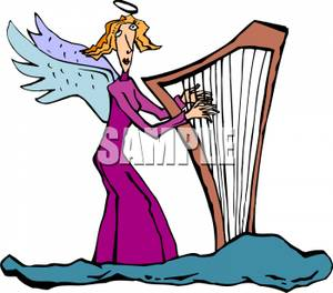 Angel Playing A Harp On A Cloud.