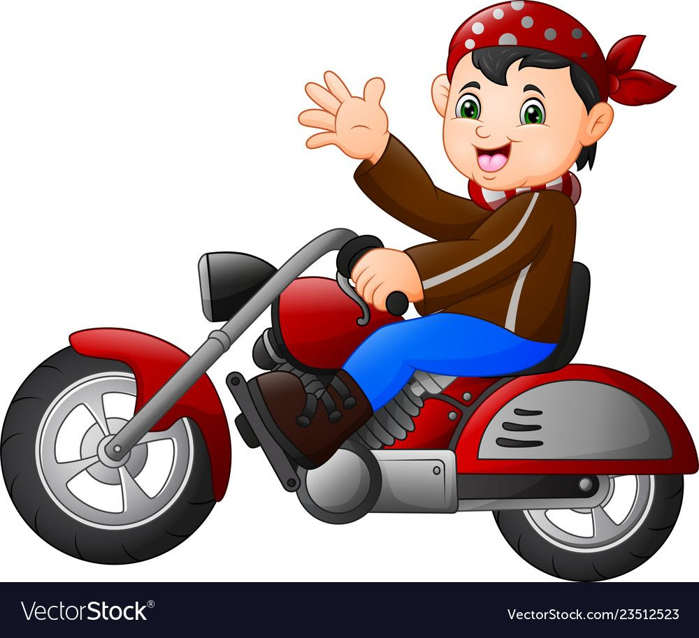 Cartoon boy funny riding a motorcycle Royalty Free Vector.