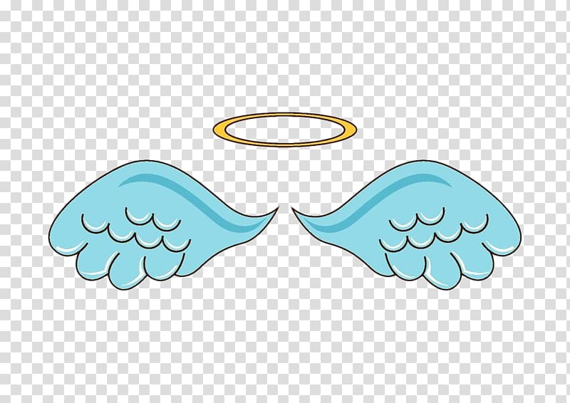 Teal wings and brown halo illustration, Doodle Angel.