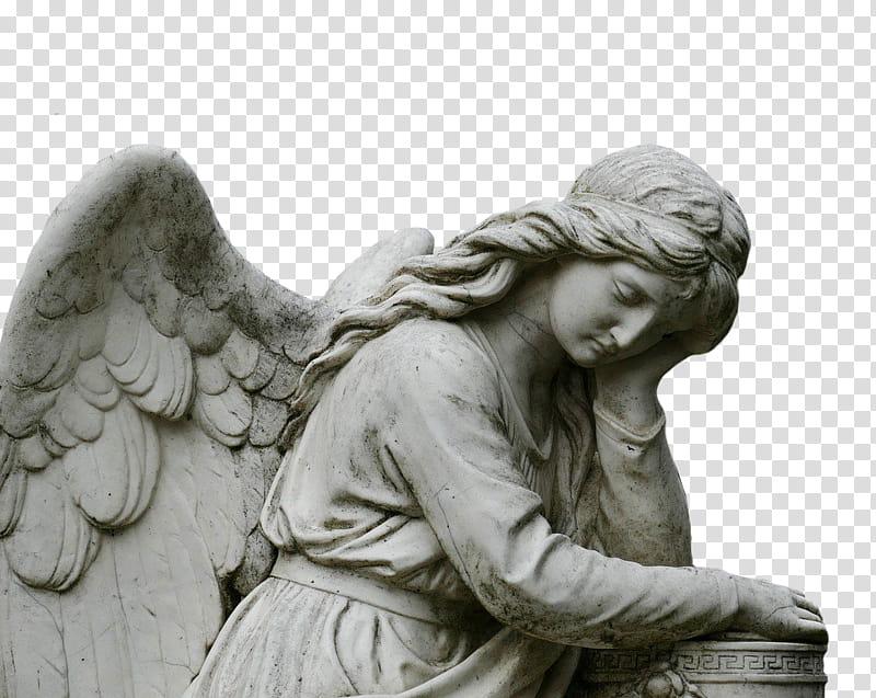 Angel concrete statue transparent background PNG clipart.