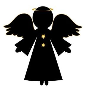 Free Angel Clip Art Image: Christmas Angel in Silhouette.