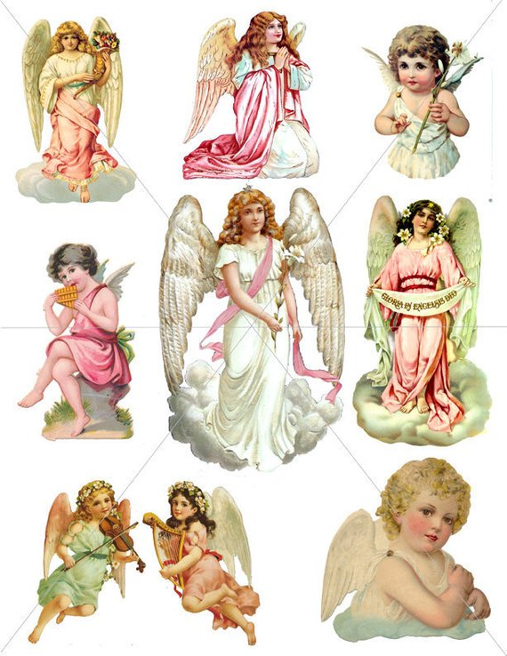 Angels, Digital Clipart Images, Angel Graphics, Printable.