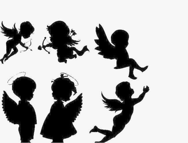 Angel Silhouette, Angel Clipart, Wing, Black PNG Transparent Image.