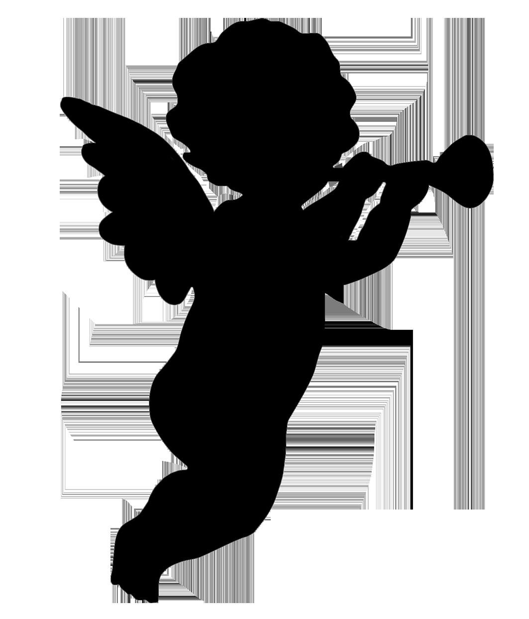 Cherub Silhouette Angel Clip art.