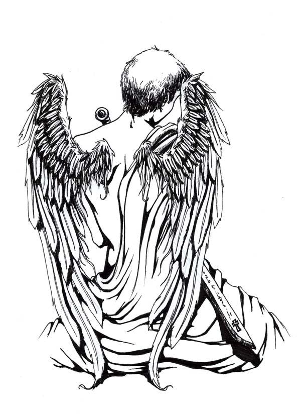 Sitting Angel Tattoo Sketch.
