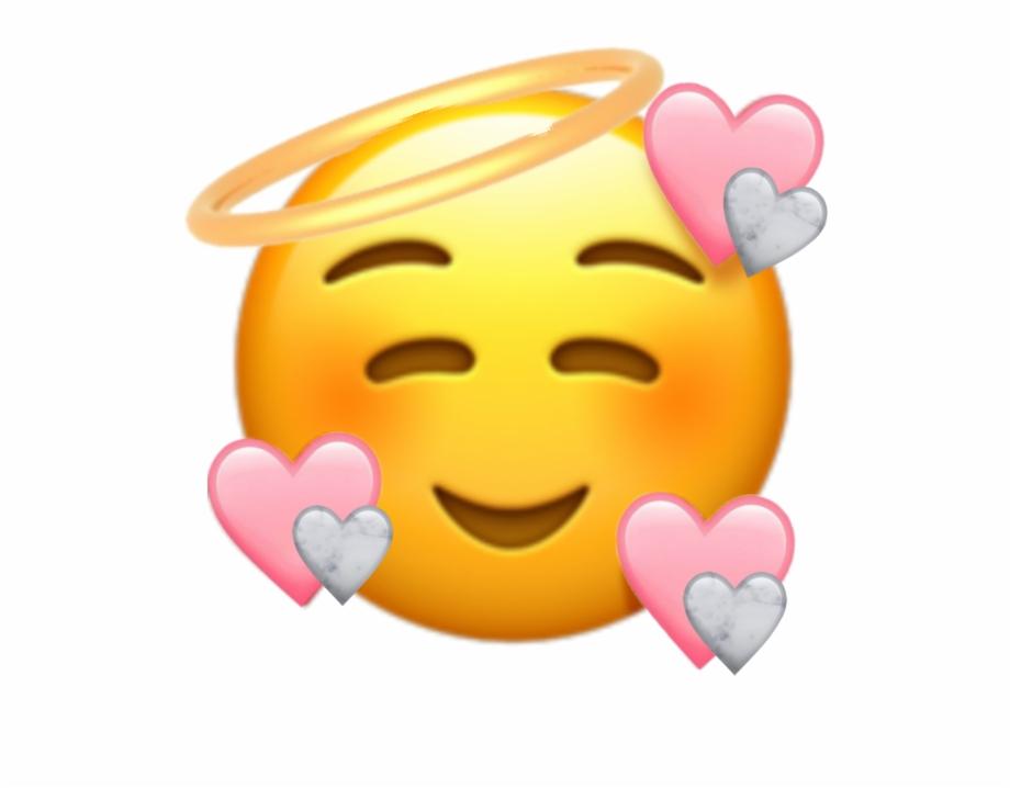 Cute Heartemoji Emoji Love Pink Marbke Angel Smiling.