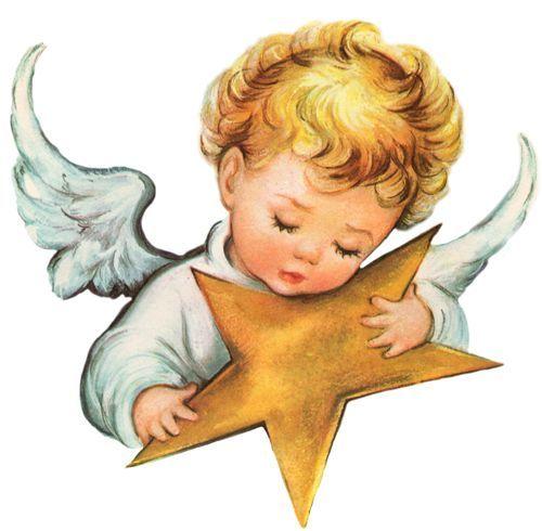 Christmas angel holds gold star.