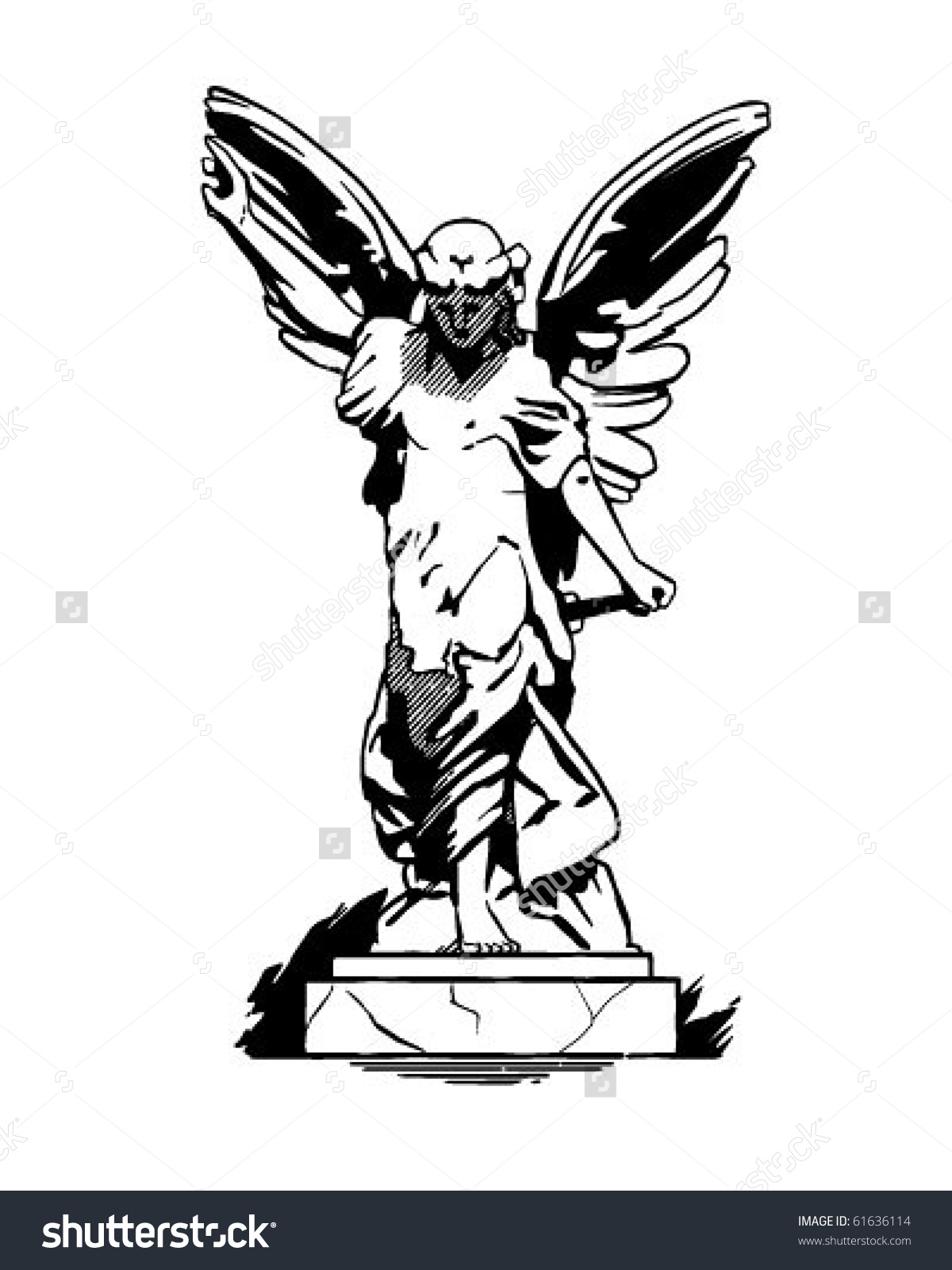 Angel Statue Retro Clip Art Stock Vector 61636114.