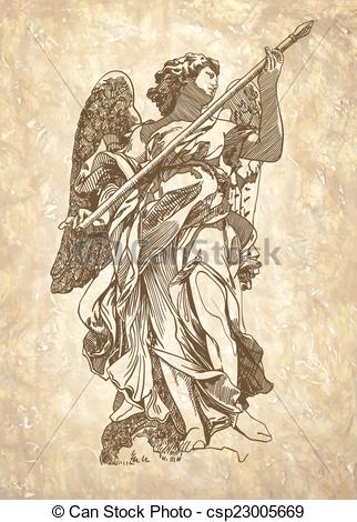 Clip Art Vector of sketch digital drawing marble statue of angel.