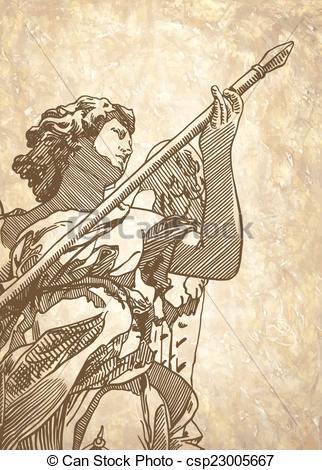 Clip Art Vector of sketch digital drawing marble statue of angel.