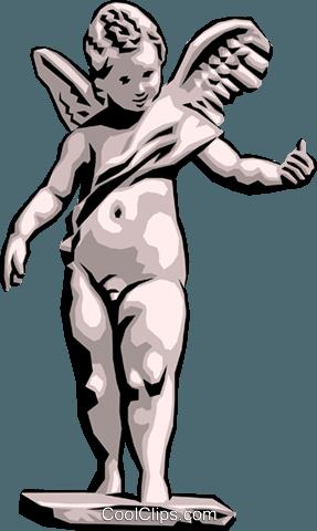 Angel Statue Royalty Free Vector Clip Art illustration.
