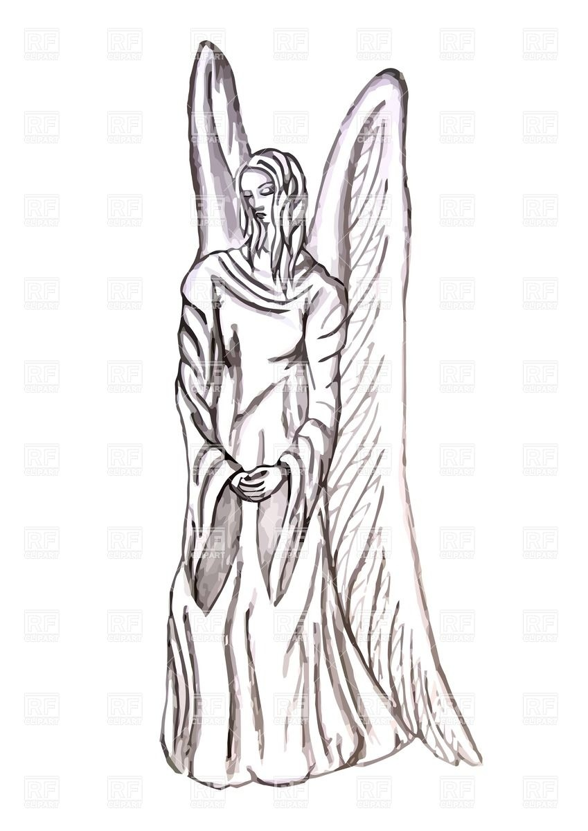 Angel statue isolated on the white background Vector Image #25784.