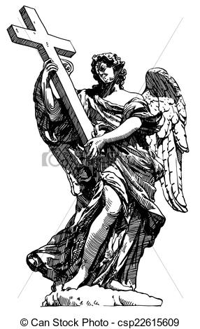 Vector Clipart of digital drawing marble statue of angel from the.
