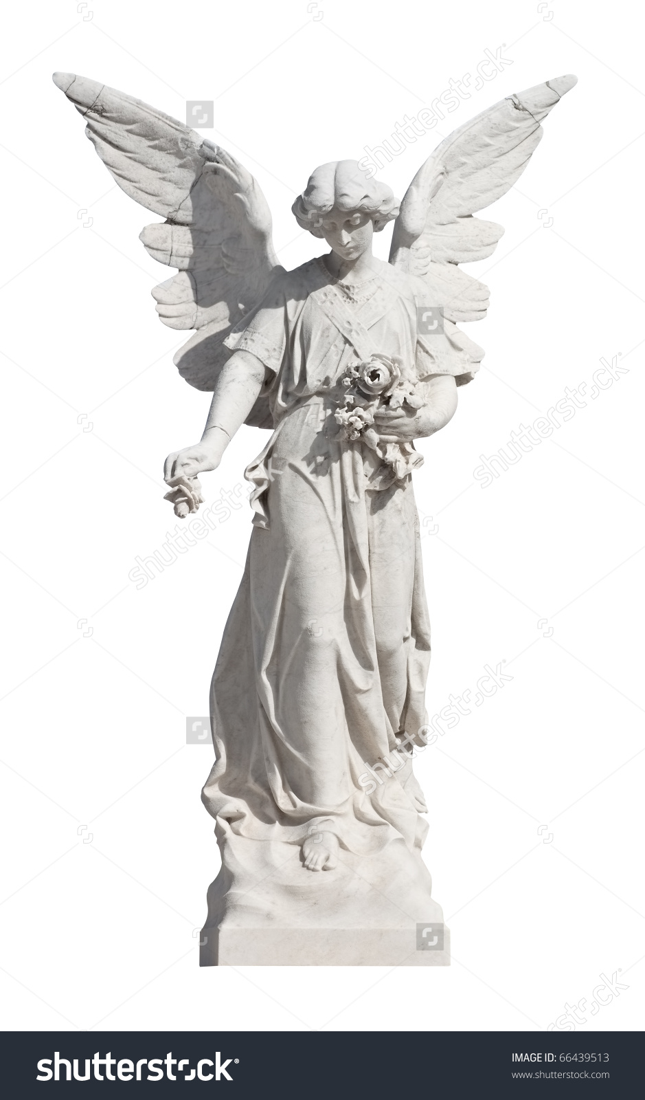 Statue Of A Young Angel Isolated On White With Clipping Path Stock.