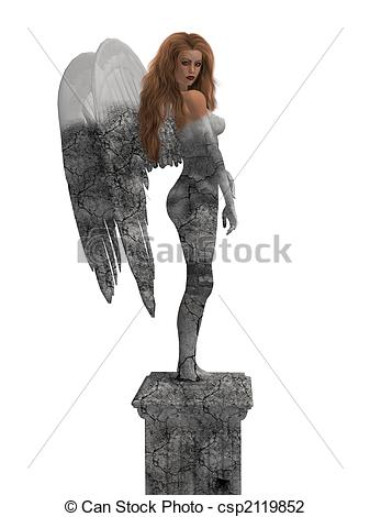 Clip Art of Angel Statue.
