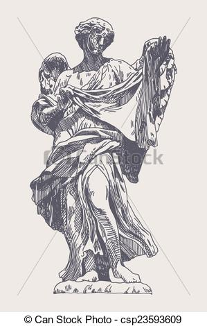 Vector Clipart of ink drawing marble statue of angel.