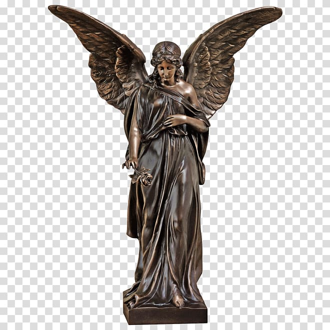 Bronze sculpture Angel Statue, angel transparent background.