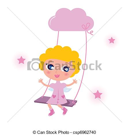 Cute little angel child isolated on white background.