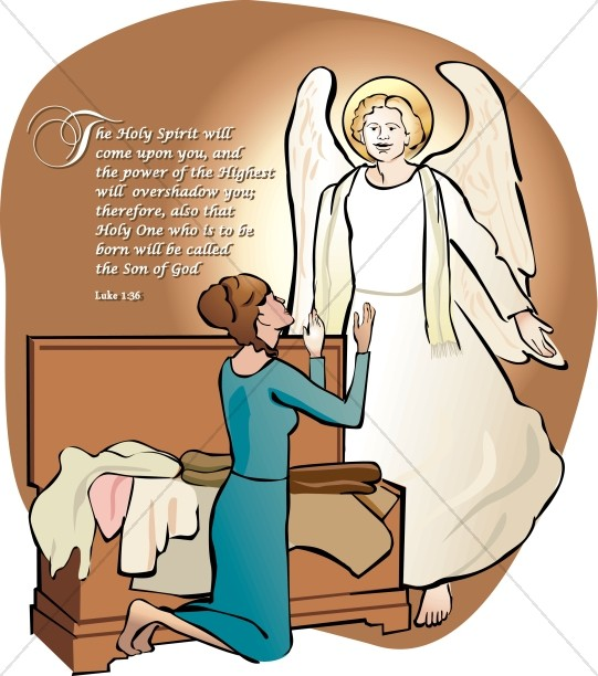 Mary and the Angel Gabriel Word Art.