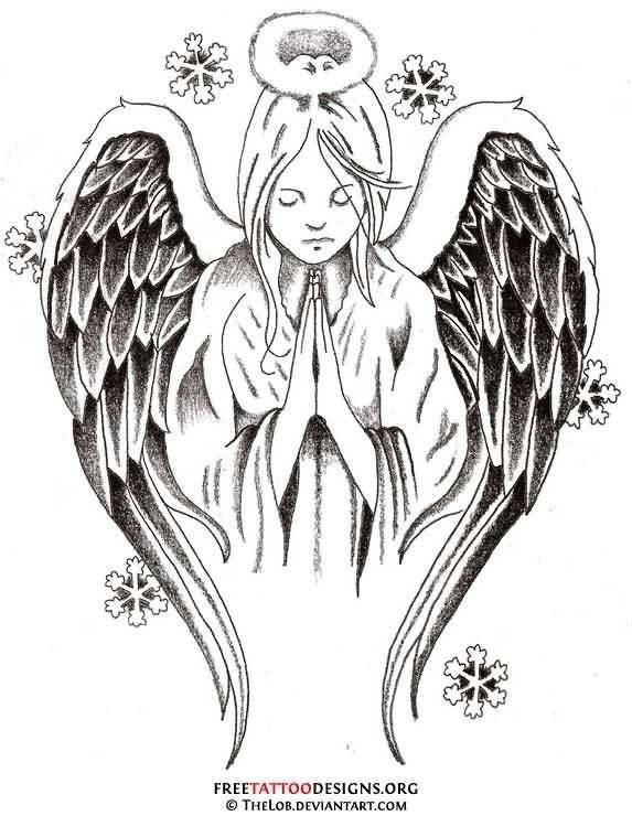 Close Hands Praying Angel Tattoo Design Stencil.