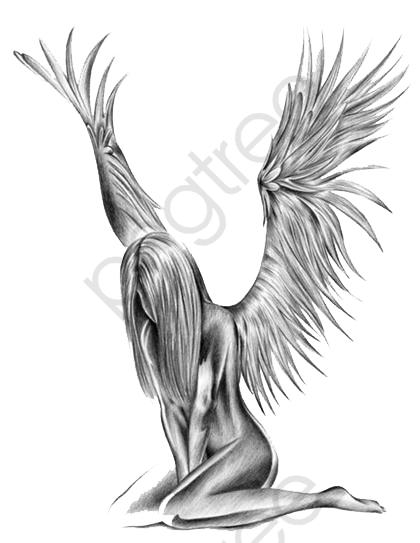 Angel Beauty Pattern, Hand Painted, Creative, Tattoo PNG Transparent.