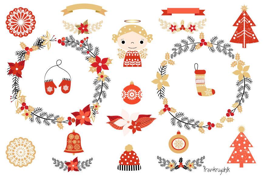 Cute Christmas clipart set, Christmas wreaths clipart, Angel, Tree.