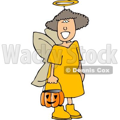 Wearing Halloween Angel Costume While Trick.