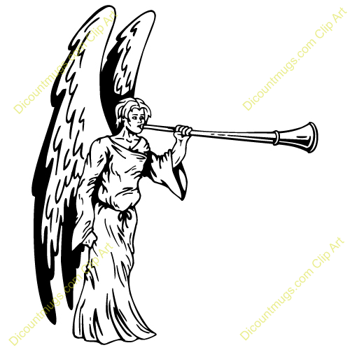 Angel Blowing Trumpet Clipart.