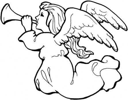 Angel With Trumpet coloring page.