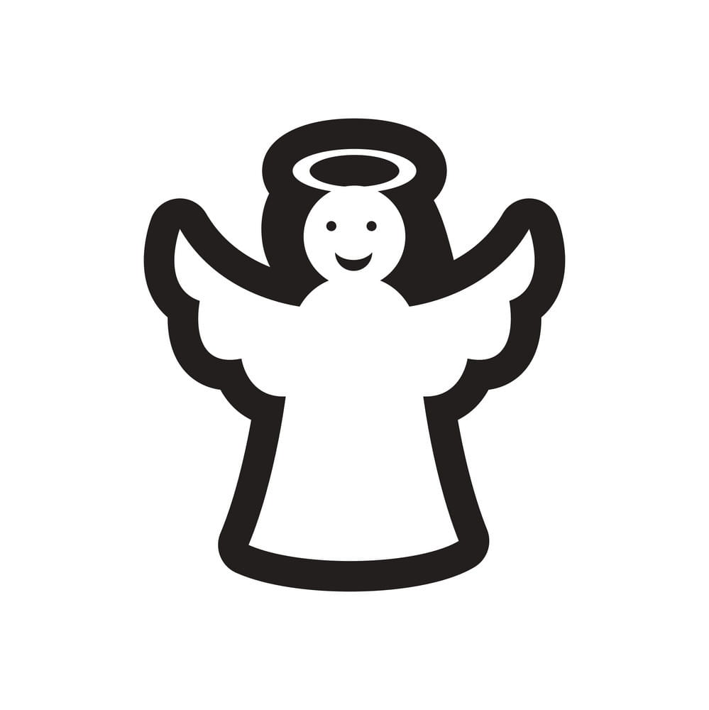 Flat icon in black and white Christmas angel vector ai, eps.