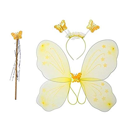 Fancydresswale Girls Butterfly Fairy Angel Wing, Wand And Hairband (Yellow,  Single).