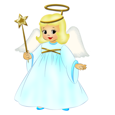 Little Angel with Wand PNG Picture.
