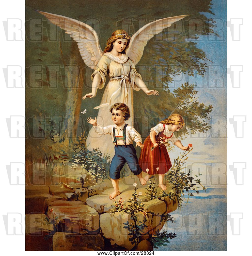 Clip Art of Retro Valentine of a Female Guardian Angel.