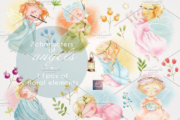 Angels Cute set, Watercolor Clipart.