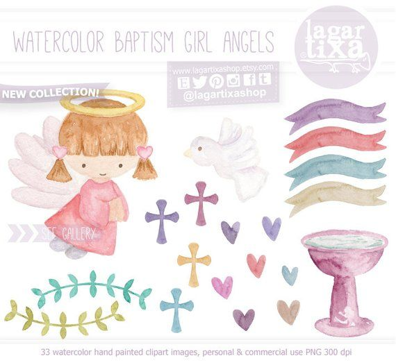 Watercolor Angel Baptism, hand painted, banner, ribbons.