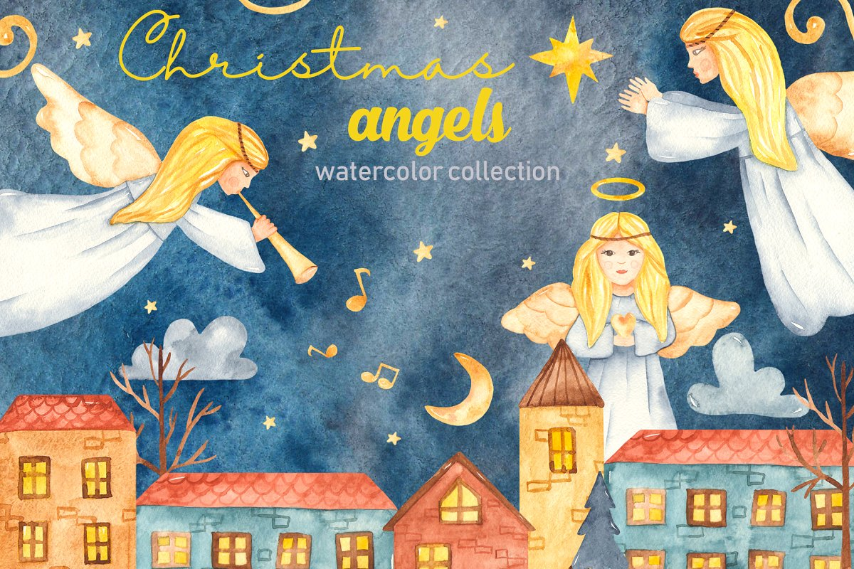 Christmas angels watercolor clipart ~ Illustrations.