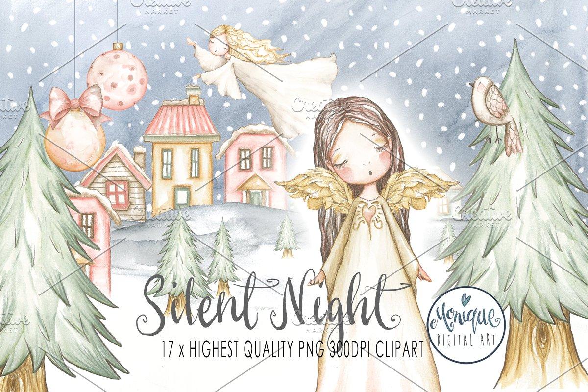 Christmas Angels Watercolor ~ Illustrations ~ Creative Market.
