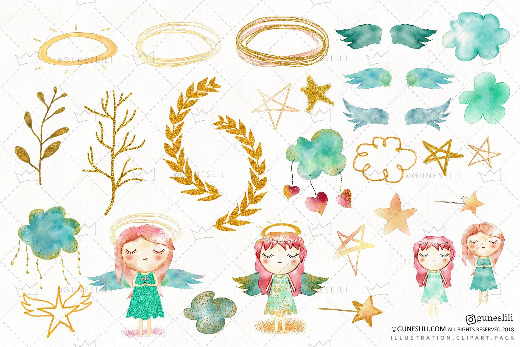Watercolor Baby Girl Angel Clipart.