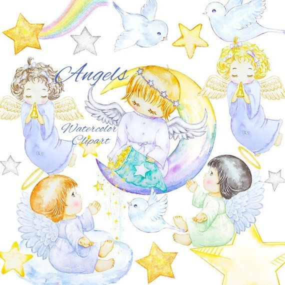 Cute Little Girl Angels Clipart, Watercolor Kids Clip Art.