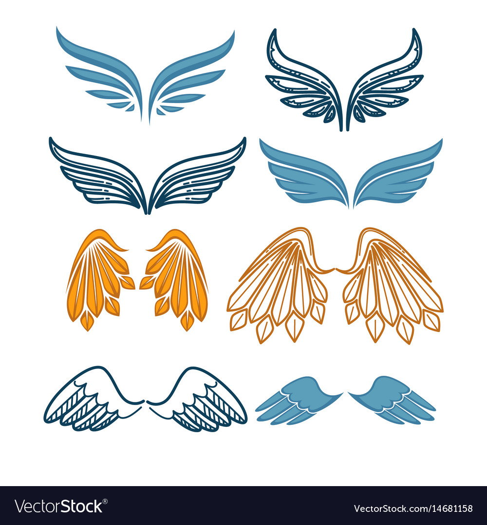 Company name logo emblem with blue angel wing on.