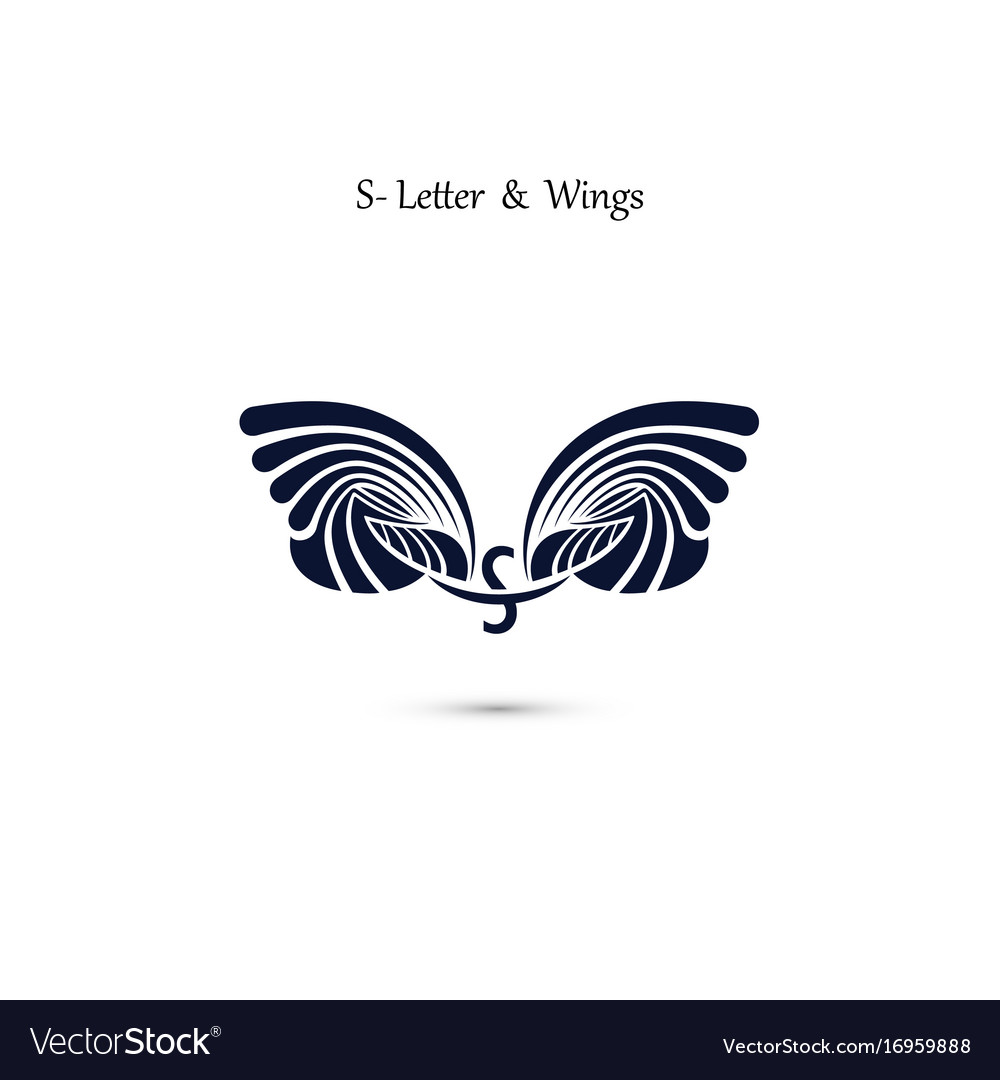 S letter sign and angel wings monogram wing logo.
