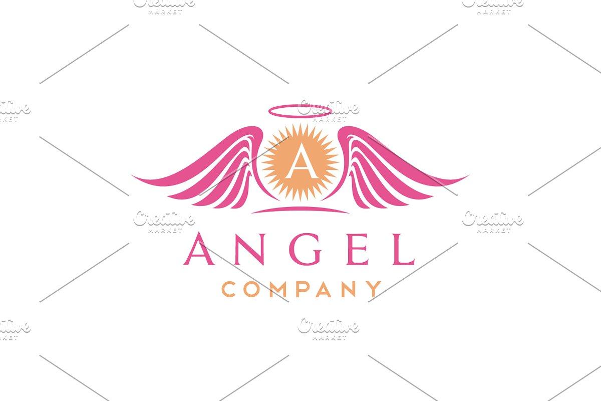 Sun & beauty Angel Wings logo design.
