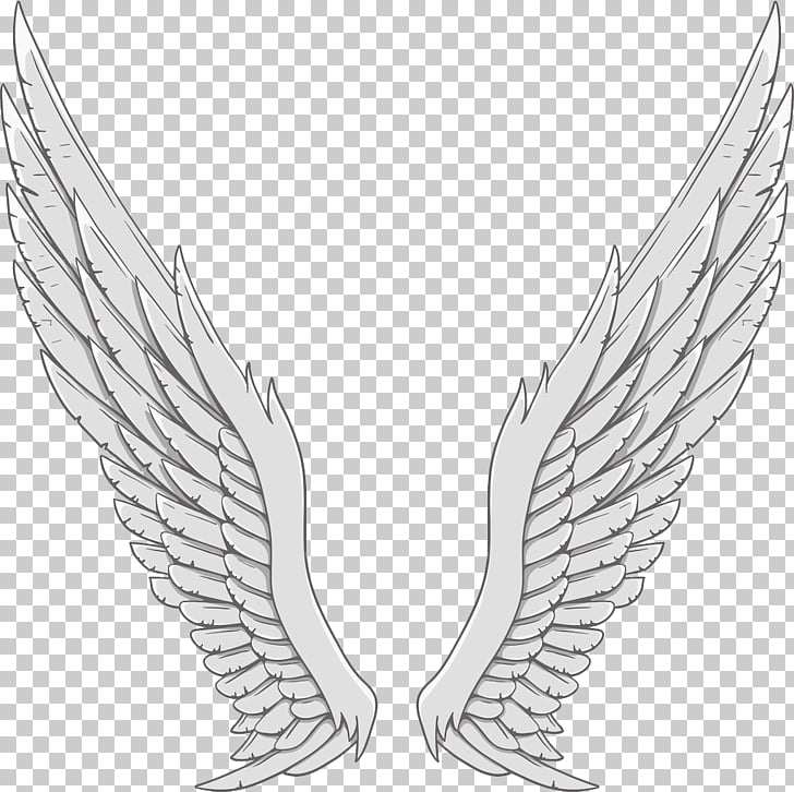 Angel wing White, Silver angel wings PNG clipart.
